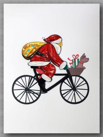 Santa Claus drives bicycle